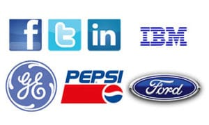 Companies that use the colour blue in their logos.