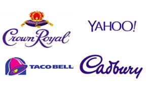 Companies that use the colour purple in their logos.
