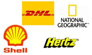 Companies that use the colour yellow in their logos.