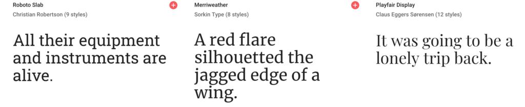 Serif fonts examples.