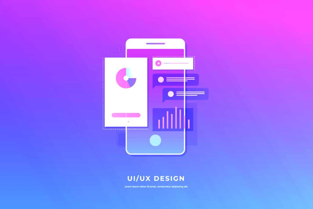 Mobile UI/UX development design concept. Smartphone with interfa