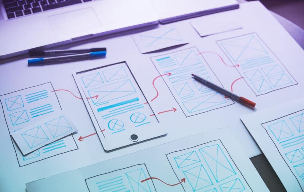 ux Graphic designer creative sketch planning application process